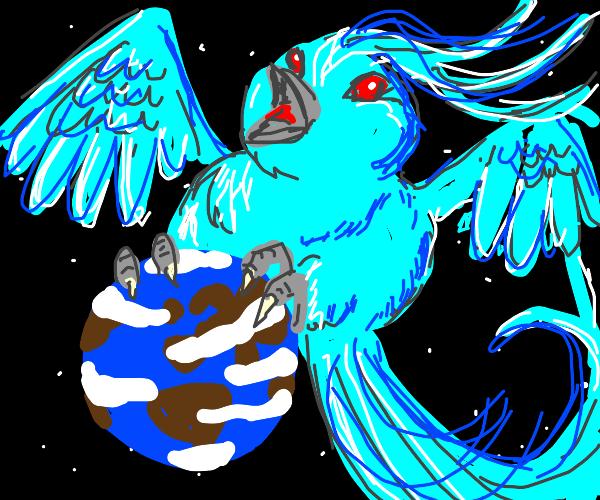 some fat blue phoenix ready to destroy earth