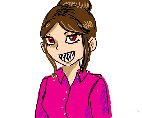 Girl with pink shirt + brown hair+sharp teeth