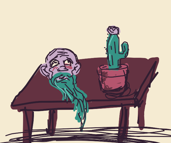 Bearded Man's Head and a Cactus