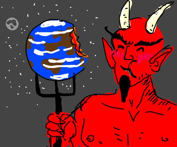 satan eating earth