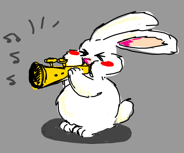 Rabbit playing a trumpet