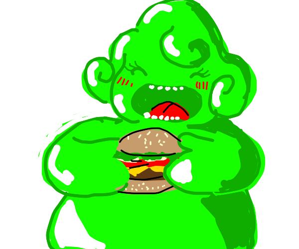 Slime Woman Eats Burgers