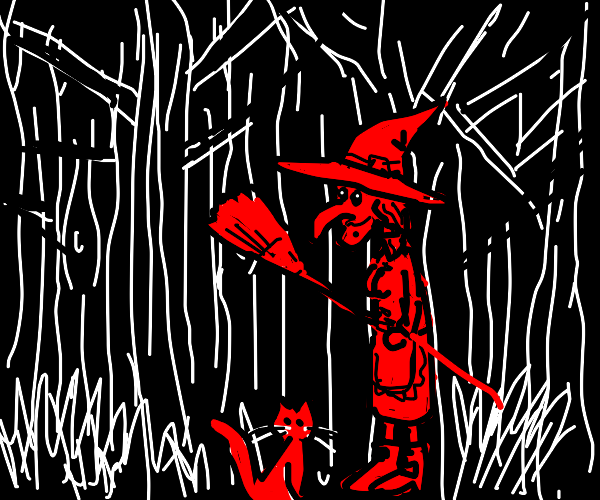Witch in forest with cat