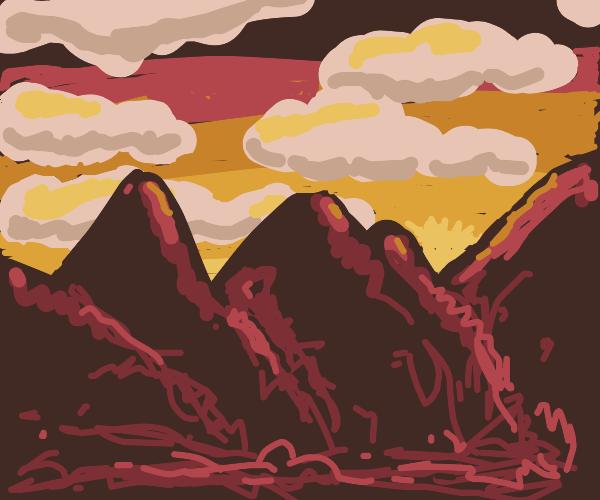 Lots of mountains at sunset