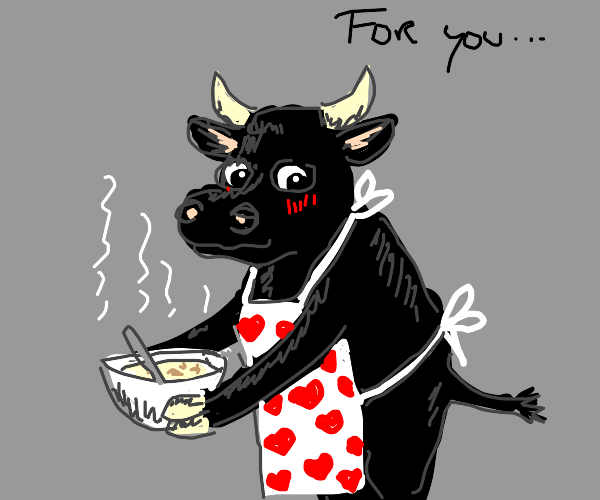 A bull gives you a bowl of soup