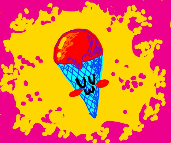 UWU blue ice cream cone blushes.