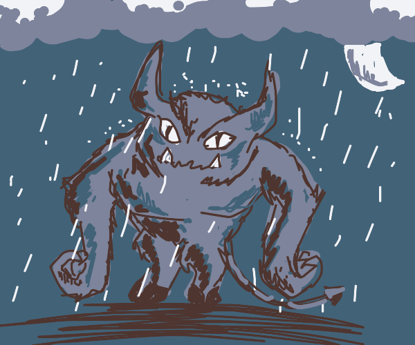 Monster with horns standing at night in rain