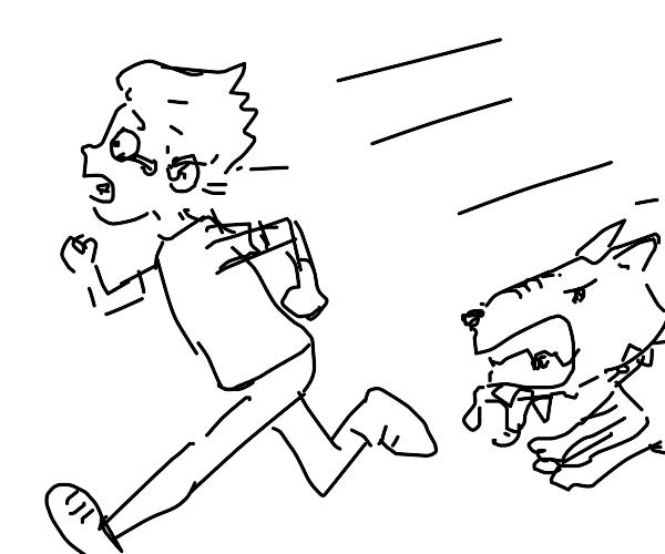 Human running away from a rabid dog?