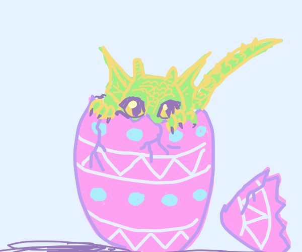 Dragon hatching out of Easter egg