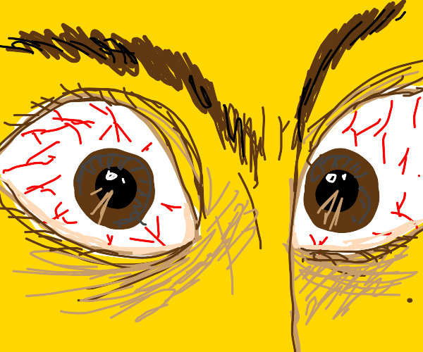 Close Up of Blood Shot Eyes on Yellow Face