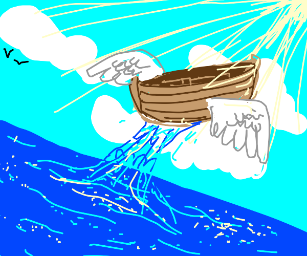 Boat flies from the water up into heaven