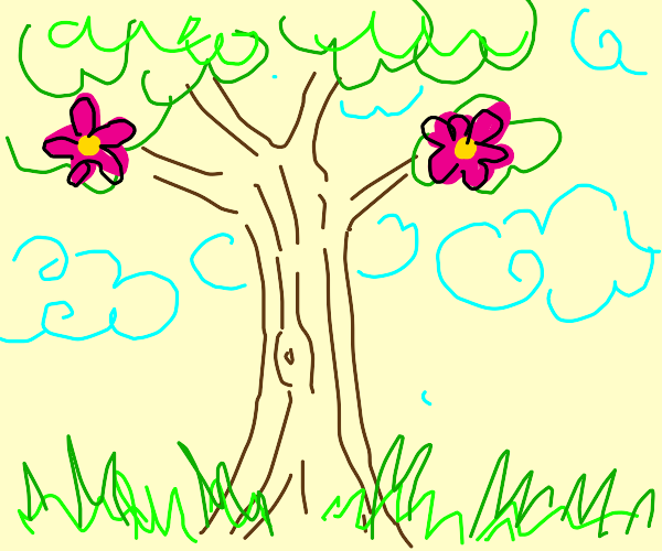 A tree with two lovely flowers