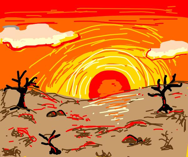 The sun sets on the barren lands...
