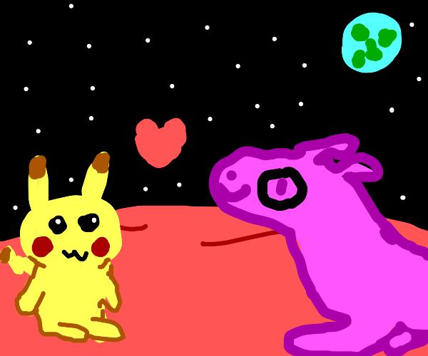 pikachu love purple dragon with 1 eye on mars