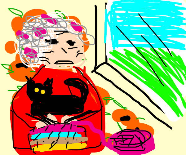 Grandma looks at window