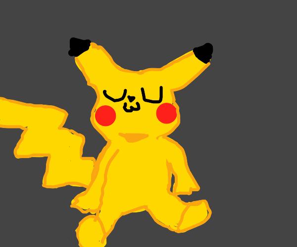 Pikachu waving and saying uwu