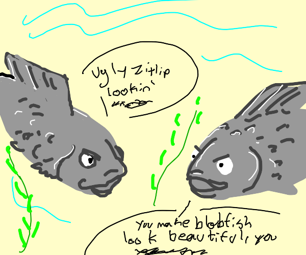 Grey Carp in the Ocean Insulting Each Other
