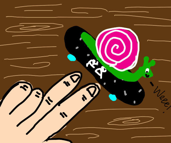 Snail rides a tech deck (small skateboard)