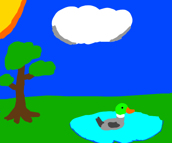 tree, duck, and pond