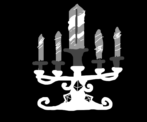 A candelabra, but instead of candles, swords