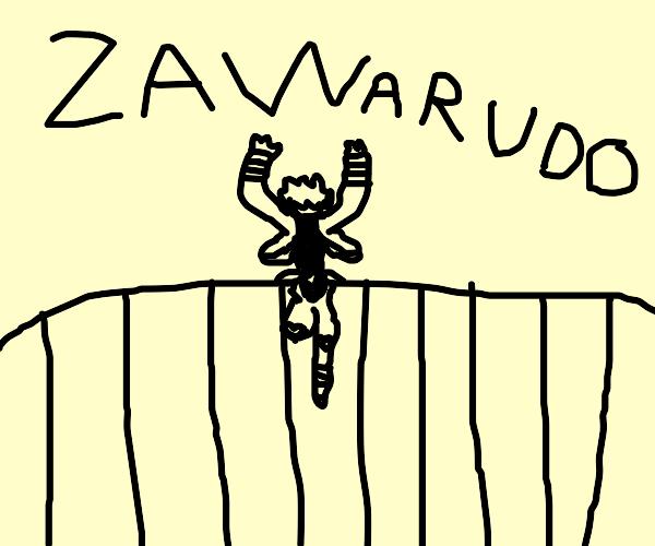 Dio activates za warudo on a bridge