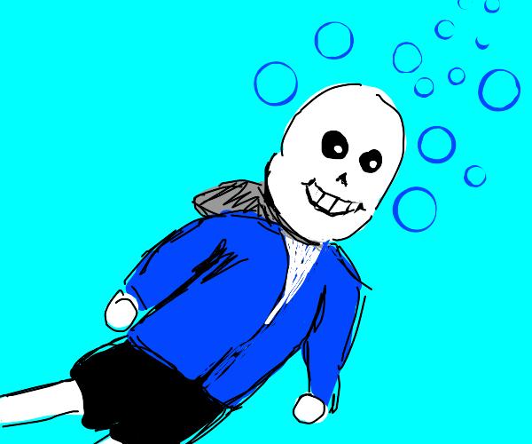 skeleton swimming