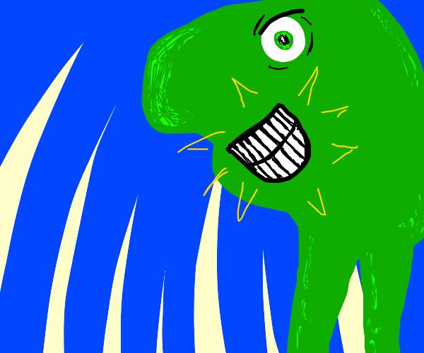 green blob man flashes a dashing smile