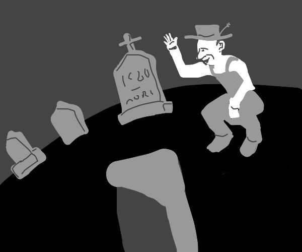 Farmer visits a graveyard and says hi