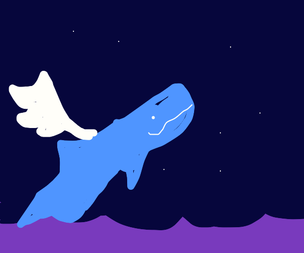 Angelic bluewhale breaks for the sky