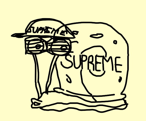 Gary snail has supreme (brand) shell and hat