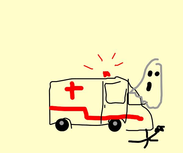 Ambulance crashes into ghost