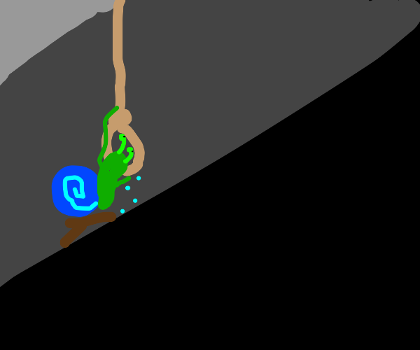 Snail hanging itself