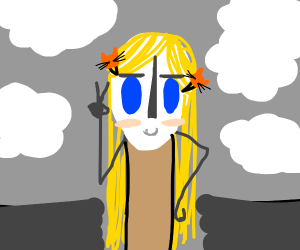 blonde girl with cat barrettes poses
