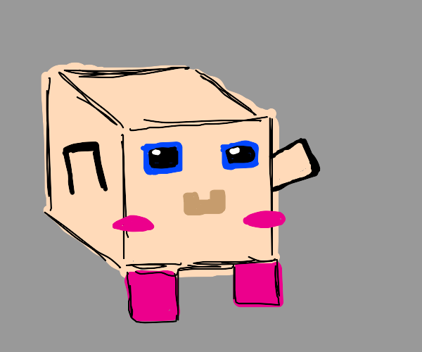 Kirby, but in Minecraft form