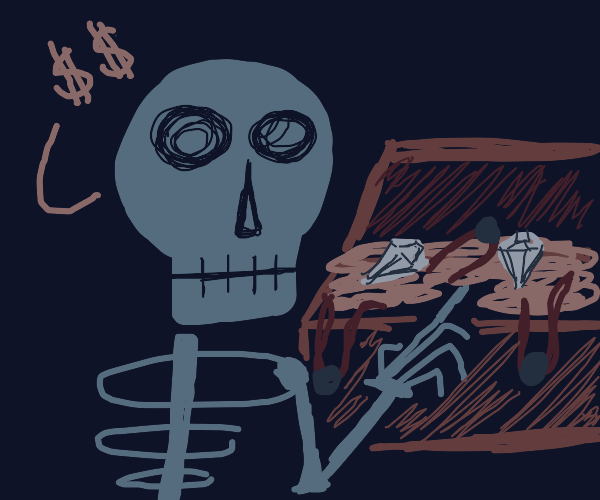 skeleton finds treasure!