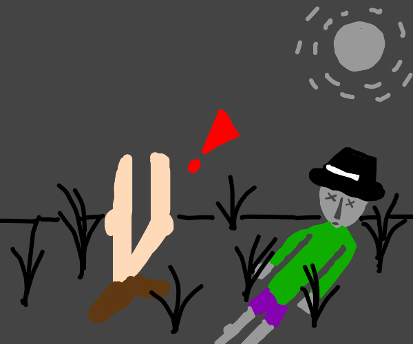 legs find a corpse of a guy with a hat