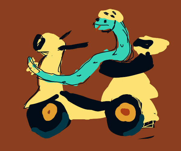 Snake on a moped