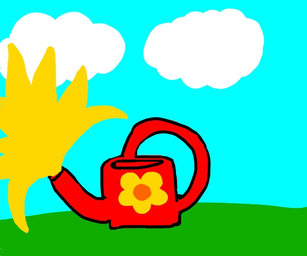 Watering can exploding with yellow stuff