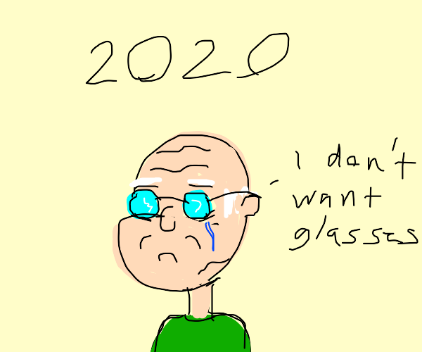Old man with glasses in 2020