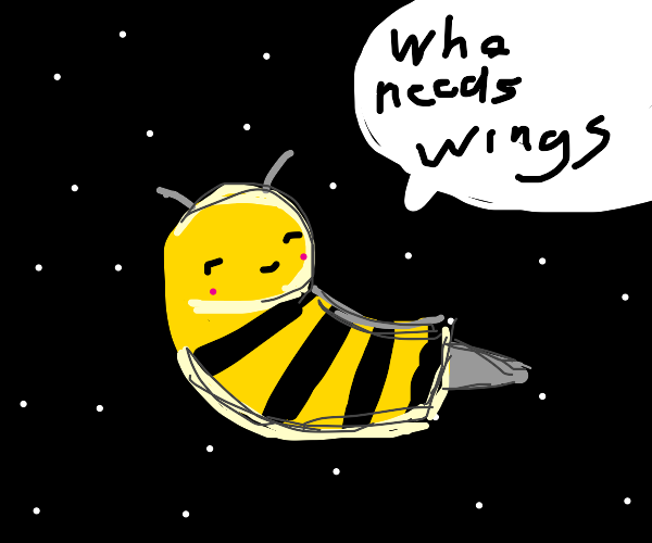 Bea the wingless bee flies through space