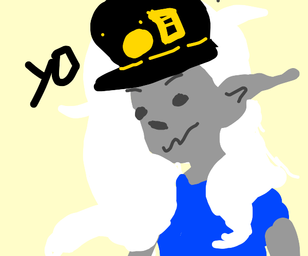 Anime guy with Jotaro hat and gray elf body