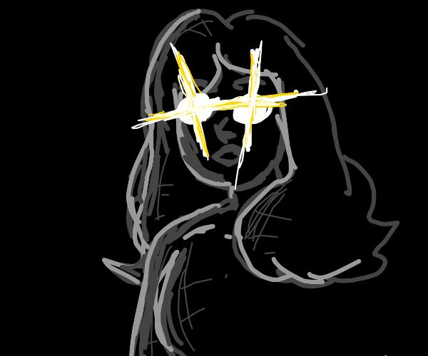 a woman in the dark speaking?