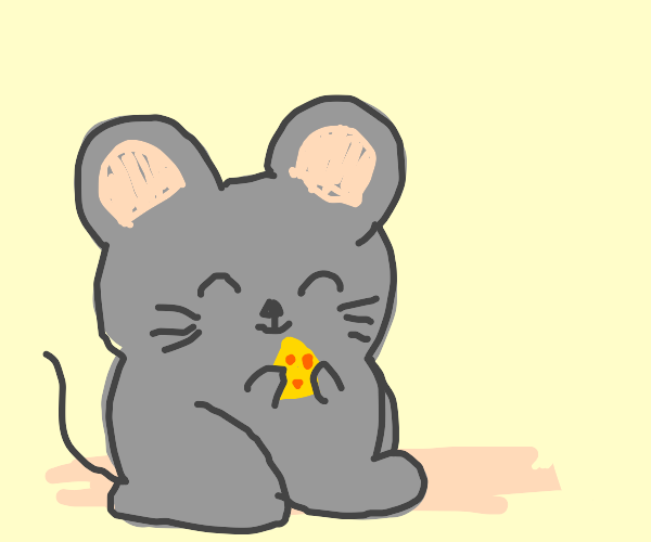 A happy mouse holding cheese