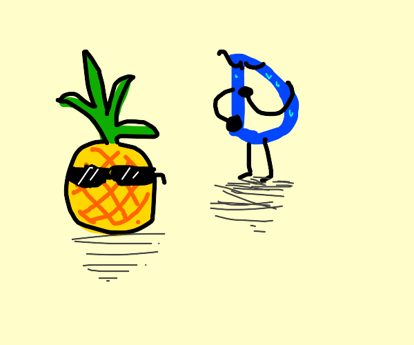 Drawception D is confused by pineapple