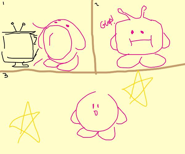 Kirby eats a TV