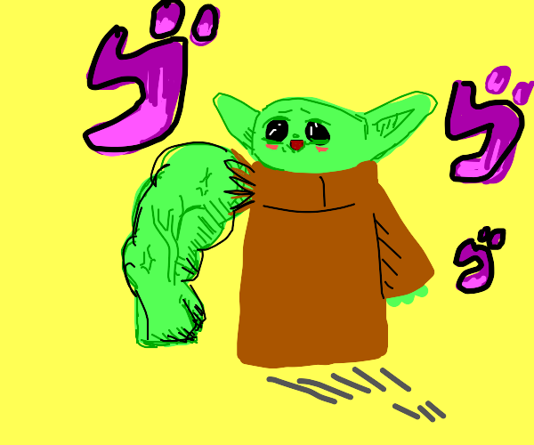baby yoda with one muscular arm