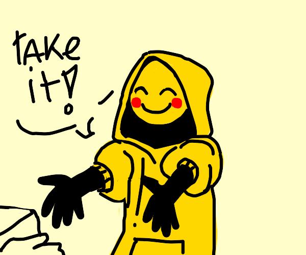 """""""Take it!"""" says happy hoodie man"""