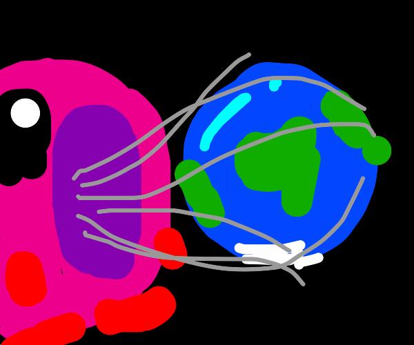 kirby eats the earth