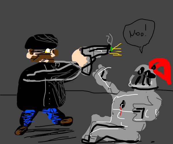 Man In Black shoots knight
