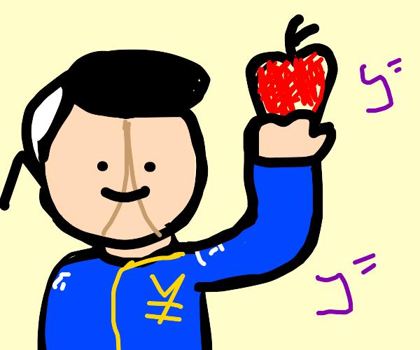 Okuyasu grabs an apple